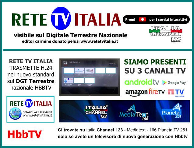 retetvitalia visibile su Italia Channel canale 123 in HBBTV